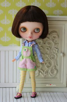 PO - Anniedollz Blythe Outfits Short Pants Overalls - Lemon Grass