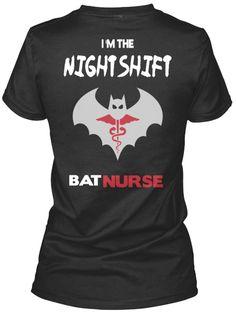 I'm The Night Shift Bat Nurse Black Women's T-Shirt Back