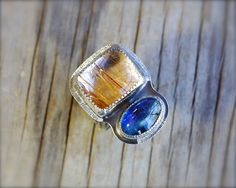 Rutilated quartz and kyanite ring. Two stone ring.