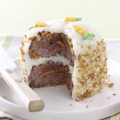 Meat Loaf Cake for Two Recipe -Creamy whipped potatoes atop tender beef patties are the makings of a practically perfect food—or, better yet, a perfect practical joke.