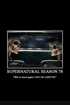 Me and my roomie just talked about how Supernatural is never going to end the other say because they never stay dead. LOL! No complaints :D