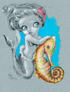 Little Mermaid et hippocampe signé PRINT Simona Candini lowbrow pop surréaliste fantastique gros yeux art