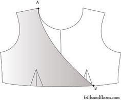 how to edit a sewing pattern of a dress into a dress with an overlapping front bodice (faux wrap)
