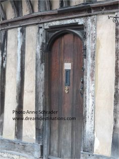 Half-timbered door in Lord Leycester Hospital--a retirement home for UK Vets