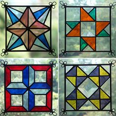 NEW Set of 4 Stained Glass Quilt Pattern Suncatcher 406