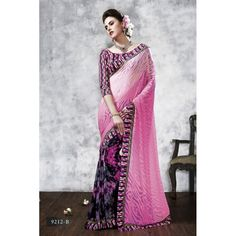Diwali Special Pink & Black Printed With Border Georgette Brasso Saree-RKVIKI9212B(FH-RKVIKI9201)