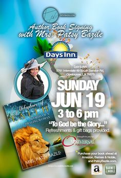 Flyer Design x e-Flyer) for Author Mrs. Patsy Bazile book signing event, designed by Moksha Media of Dallas - Daymond E.