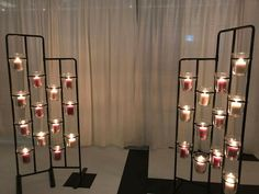 Ikea SOCKER series plant stand with candled in POMP vases