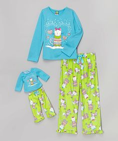 Look at this #zulilyfind! Blue & Green Cat Pajama Set & Doll Outfit - Girls by Dollie & Me #zulilyfinds