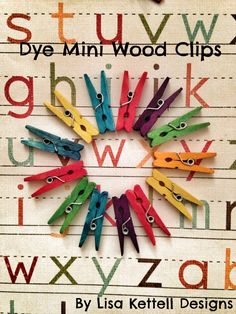 Rit Studio! Dye your own unfinished mini wood clips! Perfect for scrapbooking! Save tons of money dying your own. Make ombre styles, glittered and detailed! Add mini flowers, buttons and more. Use in paper crafting and more. In as easy as 1,2, 3 with my tutorial! xo