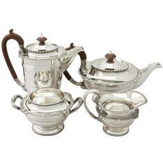 'Walker and Hall Teapot' An exceptional, fine and impressive antique George V English sterling silver four piece tea and coffee service made in the style of Paul Storr. Vintage Tea Kettle, Coffee Service, Tea Pot Set, Antiques For Sale, Coffee Set, My Tea, Antique Silver, Sterling Silver, Teapots