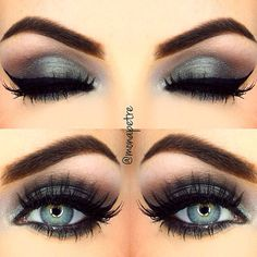 shimmery jewel- toned blue-green + taupe smokey #eye + black winged #eyeliner | #makeup @monapetre