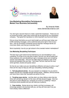 Use Marketing Storytelling Techniques To Market Your Business Successfully by Amanda Watts via slideshare #health #wellness #fitness #marketing