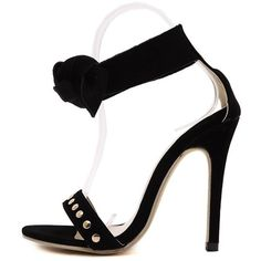 Bow Black Stiletto Heel Sandals ($36) ❤ liked on Polyvore featuring shoes, sandals, black stilettos, high heel stilettos, black stiletto sandals, stilettos shoes and stiletto sandals