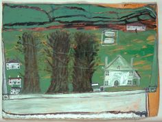 Alfred Wallis. 'Three Trees: White House in a Landscape'. Oil on cardboard. 1930.