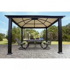 12 X Hardtop Gazebo Heavy Duty Outdoor Aluminum Roof For Patio Sets Hot Tubs