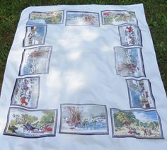 Vintage Currier and Ives Tablecloth  52 x 62  by RosebudsOriginals, $44.95