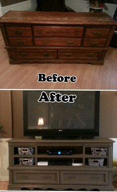 Repurposed dresser into a entertainment center