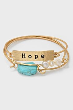 Turquoise Hope Bracelet in Gold | Women's Clothes, Casual Dresses, Fashion Earrings & Accessories | Emma Stine Limited