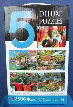 Sure-Lox 5 Puzzle Box Set 500+ Pieces per Color Coded Backs NIB Balloons, etc. #TCG