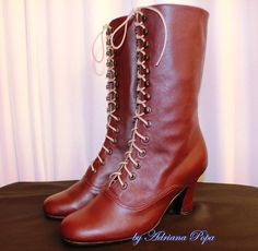 Victorian High Heel Lace up Boots Burgundy by VictorianBoots, $190.00