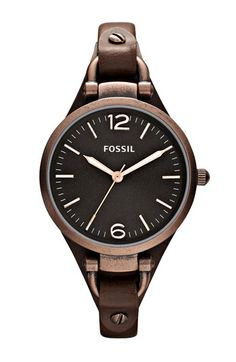 $95, Georgia Leather Strap Watch 32mm Dark Brown by Fossil. Sold by Nordstrom.