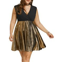 Plus Size XL-5XL Sexy Clubwear Evening Sleeveless Glitter Surplice Party  Dress Party Dresses For dbd54334d847