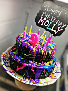 Bringing Up Burns: Molly's NINTH Neon Glow in the Dark Dance Birthday Cake