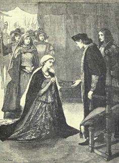 """King Henry VII receives Lady Katherine Gordon. She was married to Perkin Warbeck, (circa 1474 – 23 November 1499) known as a pretender to the English throne during the reign of King Henry VII of England. By claiming to be Richard of Shrewsbury, 1st Duke of York, the younger son of King Edward IV, one of the """"Princes in the Tower"""". Some think that he was indeed the Prince, as his mother supported his claim and secretly funded him. But, she did not live to see him arrive on English soil."""