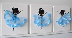 Ballerina Wall Art. Set of 3 Ballerina canvases. by FlorasShop