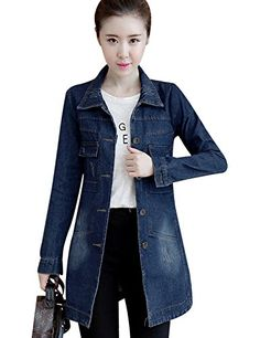 9d52b760e5b7 Tanming Women s Button Front Mid Long Denim Jean Jacket Coat at Amazon  Women s Coats Shop