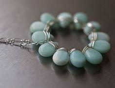 Aqua blue Amazonite Necklace Sterling silver