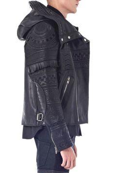 Visions of the Future: Tattoo Embroidery Leather Hoodie Riders Jacket Leather Hoodie, Leather Men, Leather Jackets, Dark Fashion, Mens Fashion, Moda Men, Riders Jacket, Men's Jacket, Mode Outfits