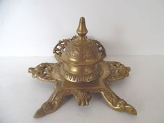Ornate Brass Inkwell Footed and Hinged Lid