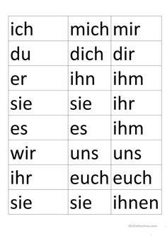 Personalpronomen im Akk und Dativ Study German, Learn German, German English, German Home, German Grammar, German Words, Dativ Deutsch, Dativ Und Akkusativ