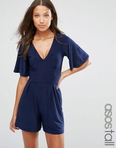 a805d5ce5bbb ASOS TALL Playsuit with Flutter Kimono Sleeve – Navy. Tall Women s Fashion  at PrettyLong.com