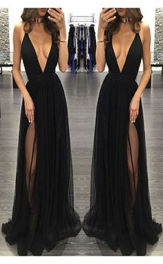 prom dresses,Deep V-neck Prom Dress,Sleeveless Black Prom Dresses with Slit,Backless Evening Dress,Chiffon Prom Party Dress