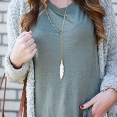 Feather Lariat Necklace