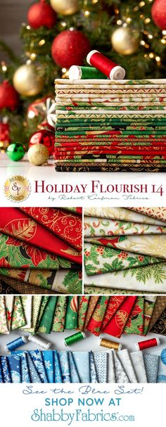 Give your traditional Christmas projects an elegant twist with these stunning metallic accents from the Holiday Flourish 14 collection by Robert Kaufman! Available in a Blue colorstory and a Holiday colorstory. Shop the available yardage, precuts, and kits at www.shabbyfabrics.com!