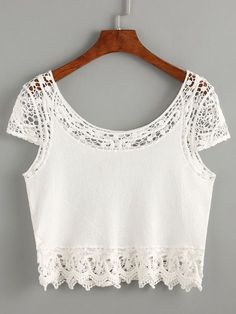 SheIn offers White Crochet Insert Crop Top & more to fit your fashionable needs. Look Fashion, Girl Fashion, Fashion Outfits, Cool Outfits, Casual Outfits, New Mode, Crop Tops Online, Pull, Blouse Designs