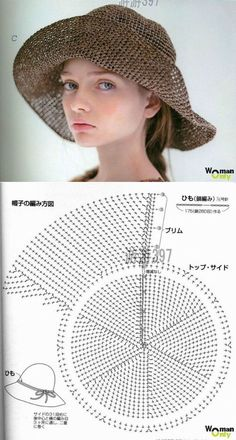 KNIT--- Knitting broad-brimmed hat hook. Free pattern. Linked to translation.