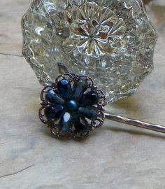 Fall Winter Fashion 40's Navy Blue Filigree by WillowBloom on Etsy, $14.50