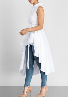 23d2f2d042114c White Sashes Draped Irregular Swallowtail High-Low Turndown Collar  Homecoming Party Blouse