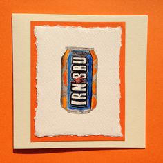 Watercolour painting of a can of Irn Bru mounted on a cream card £3.50 from www.dianew.co.uk