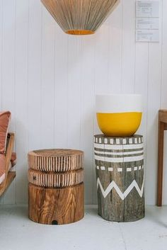 Hare + Klein Interior Design Blog: Favourite Things - Side Tables: Stumpies, available from Pop & Scott Laundry Basket, Wicker, Decorative Bowls, Bedroom, Interior Design, Wood, Furniture, Home Decor, Basement Ideas
