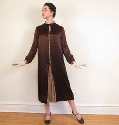 1920s Long Sleeved Day Dress in Brown Silk and Ornate Buttons