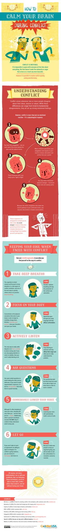 How to Calm Your Brain During Conflict (Infographic) - http://nifyhealth.com/how-to-calm-your-brain-during-conflict-infographic/