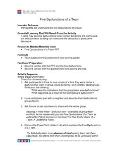 Five Dysfunctions Team Assessment  Click Image For Larger Pdf