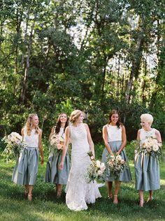 green and white #bridesmaid dresses @weddingchicks