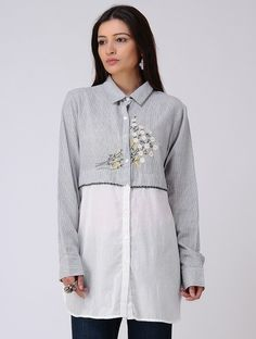Grey Embroidered Organic Cotton Shirt